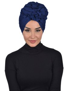 Kerstin Navy Blue Cotton Turban Ayse Turban 324803a