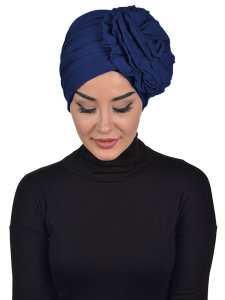 Kerstin Navy Blue Cotton Turban Ayse Turban 324803b
