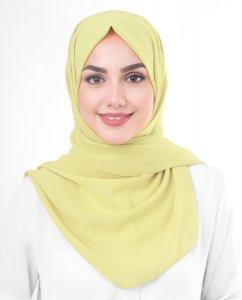 Lemon Grass - Light Yellow Georgette Hijab 5XA45a