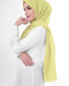 Lemon Grass - Light Yellow Georgette Hijab 5XA45b