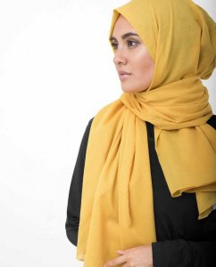 Lemonade Yellow Cotton Voile Hijab InEssence 5TA63b