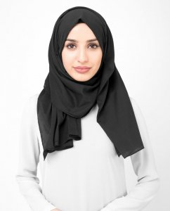 Licorice - Antracit Bomull Voile Hijab Sjal InEssence Ayisah 5TA41a