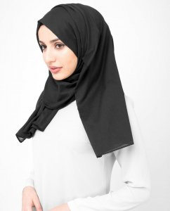 Licorice - Antracit Bomull Voile Hijab Sjal InEssence Ayisah 5TA41b