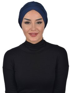 Linda Navy Blue Cotton Turban Ayse Turban 321903a