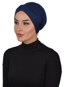 Linda Navy Blue Cotton Turban Ayse Turban 321903b