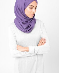 Loganberry Lila Bomull Voile Hijab 5TA16