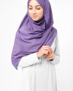 Loganberry Lila Bomull Voile Hijab 5TA16a