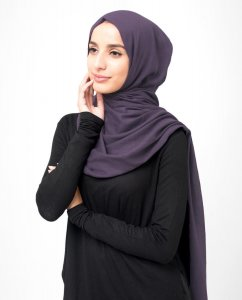 Loganberry - Dark Purple Cotton Voile Hijab 5TA92a