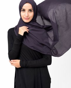 Loganberry - Dark Purple Cotton Voile Hijab 5TA92b
