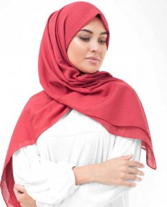 Lollipop Red Cotton Voile Hijab InEssence 5TA70b