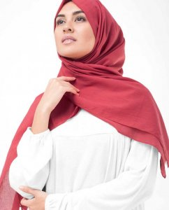 Lollipop Red Cotton Voile Hijab InEssence 5TA70c