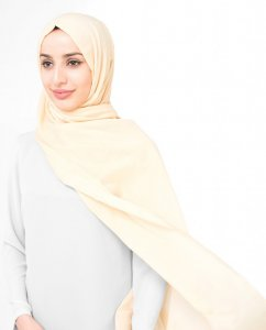 Mellow Buff - Creme Bomull Voile Hijab Sjal InEssence Ayisah 5TA42b