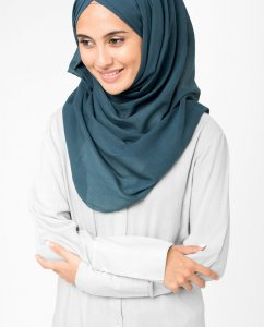 Midnight Navy Blue Cotton Voile Hijab 5TA8
