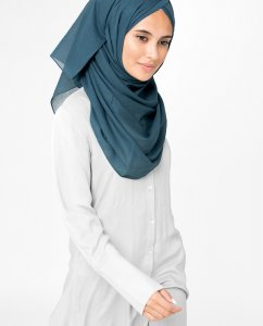 Midnight Navy Blue Cotton Voile Hijab 5TA8a