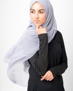 Minimal Grey Light Grey Polychiffon Hijab 5RA19
