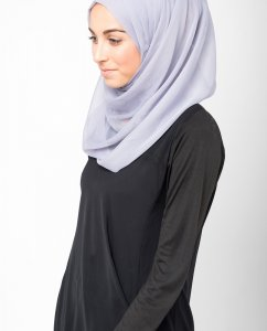 Minimal Grey Light Grey Polychiffon Hijab 5RA19a