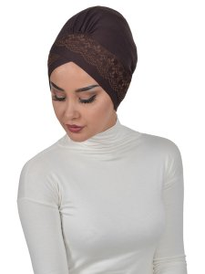 Molly Brun Lace Bomull Turban Cancer Krebs Ayse Turban 322205-2
