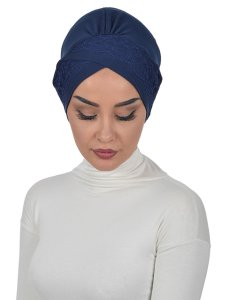Molly Marinblå Lace Bomull Turban Cancer Krebs Ayse Turban 322201-1