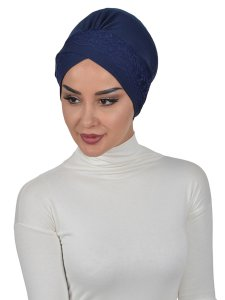 Molly Marinblå Lace Bomull Turban Cancer Krebs Ayse Turban 322201-2
