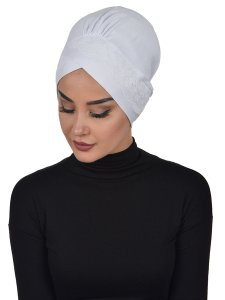 Molly Vit Lace Bomull Turban Cancer Krebs Ayse Turban 322212-2