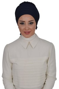 Monica - Navy Blue Cotton Turban