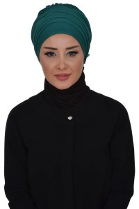 Monica - Dark Green Cotton Turban