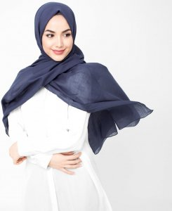 Mood Indigo Navy Blue Cotton Voil Hijab 5TA30c