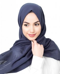Mood Indigo Navy Blue Cotton Voil Hijab 5TA30d