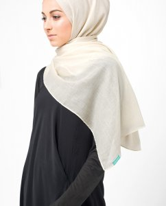 Moonbeam Offwhite Bomull Voile Hijab 5TA4