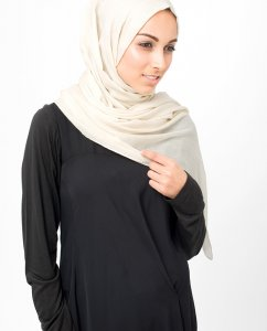 Moonbeam Offwhite Bomull Voile Hijab 5TA4a