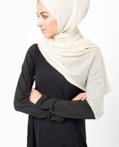 Moonbeam Offwhite Bomull Voile Hijab 5TA4b