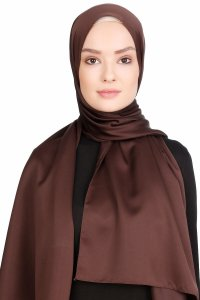Nuray Glossy Brown Hijab 8A16a