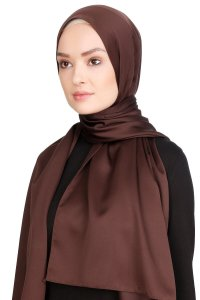 Nuray Glossy Brown Hijab 8A16b
