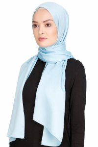 Nuray Glossy Light Blue Hijab 8A04b