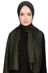 Nuray Glossy Army Green Hijab 8A07a
