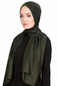 Nuray Glossy Army Green Hijab 8A07b
