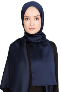 Nuray Glossy Dark Blue Hijab 8A12a