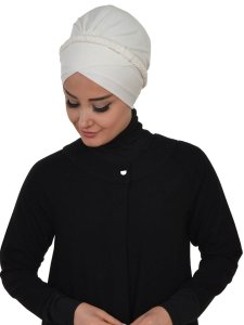 Olivia Creme Bomull Turban Cancer Krebs Ayse Turban 321008-2