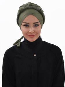 Olivia Khaki Bomull Turban Cancer Krebs Ayse Turban 321013-1