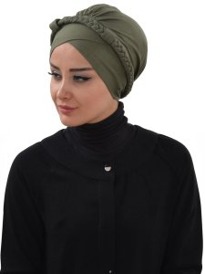 Olivia Khaki Bomull Turban Cancer Krebs Ayse Turban 321013-2