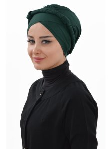Olivia Mörkgrön Bomull Turban Cancer Krebs Ayse Turban 321014-2