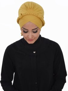 Olivia Senapsgul Bomull Turban Cancer Krebs Ayse Turban 321011-1