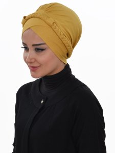 Olivia Senapsgul Bomull Turban Cancer Krebs Ayse Turban 321011-2