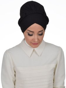 Olivia Svart Bomull Turban Cancer Krebs Ayse Turban 321006-1