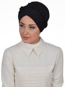 Olivia Svart Bomull Turban Cancer Krebs Ayse Turban 321006-2
