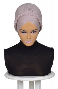 Olivia Taupe Bomull Turban Cancer Krebs Ayse Turban 321002-1