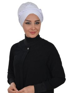 Olivia Vit Bomull Turban Cancer Krebs Ayse Turban 321012-1