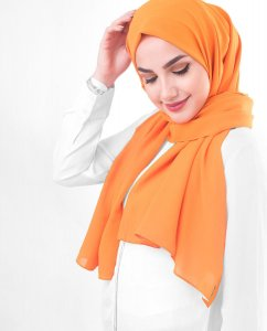 Orange Pepper Orange Georgette Hijab 5XA48b