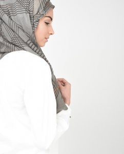 Orange You Daring - Grey & Orange Hijab 1