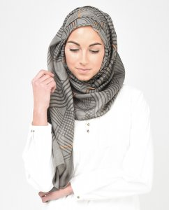 Orange You Daring - Grey & Orange Hijab